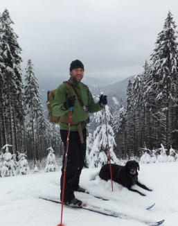 Our Man and Our Dog up a mountain in the snow, having a great time in the Czech Republic!