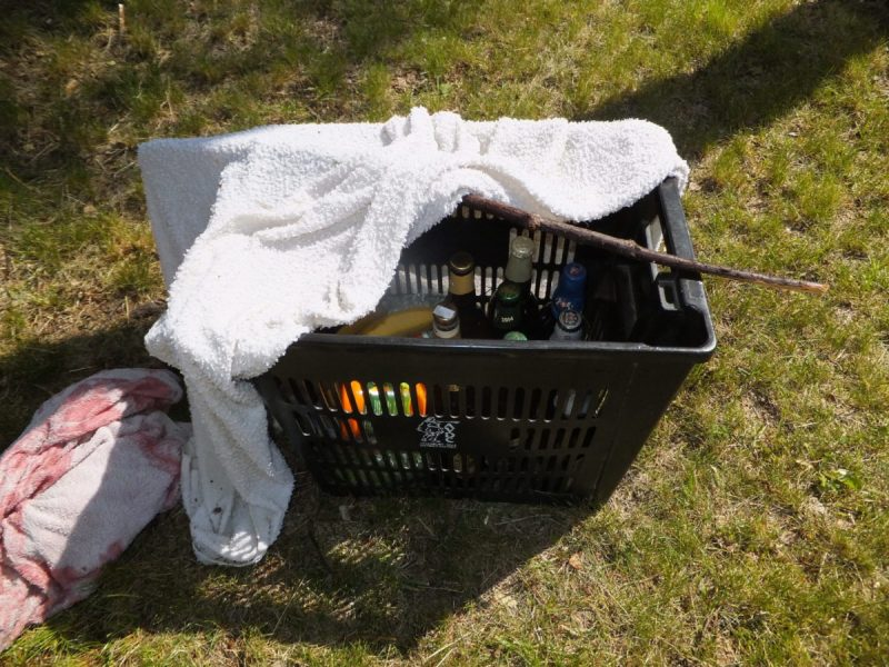 One wet towel, one stick and one Aylesbury Vale District Council recycling container equals... Czech camping