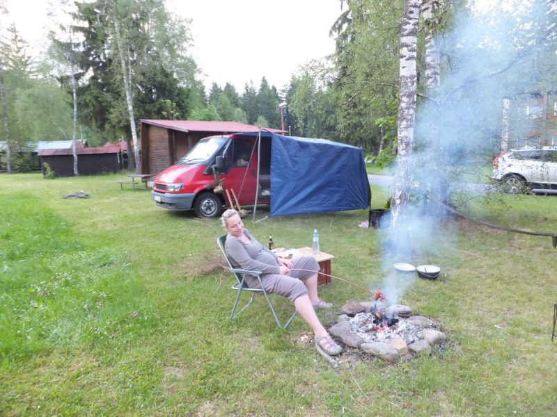 Czech Camping. Our Lass cooking an afternoon meal in the finest traditions of Czech camping.