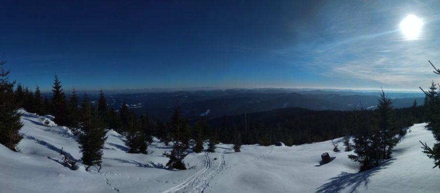 Snowshoeing Trails Czech republic. Smrk Mountain.