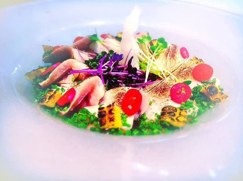 Yellow tail with corn in miso and passion fruit sauce flavored with lime
