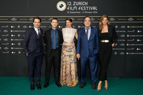 Festival director Karl Spoerri, actor Joseph Gordon-Levitt, actress Shailene Woodley, director Oliver Stone and Festival director Nadja Schildknecht