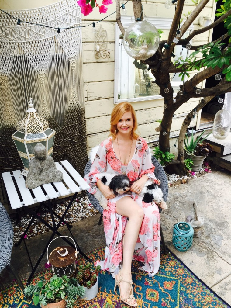 at home with her doggies