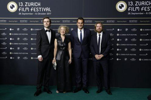 Sverrir Gudnason, Corine Mauch, Roger Federer and Janus Metz Pedersen