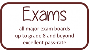 Exams - all major exam boards; up to grade 8 and beyond; excellent pass-rate