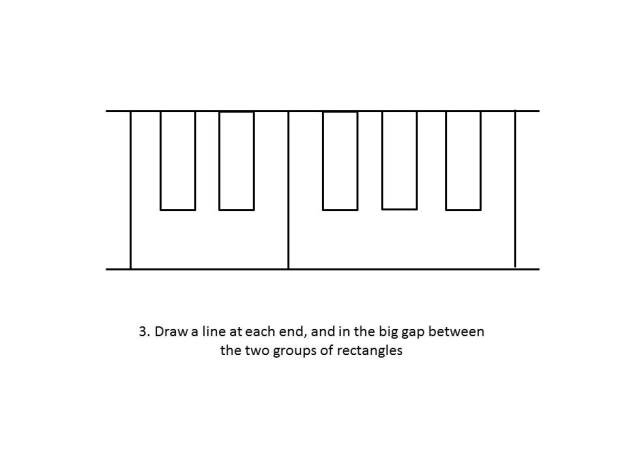 Draw a line at each end and in the gap between the two groups of rectangles.