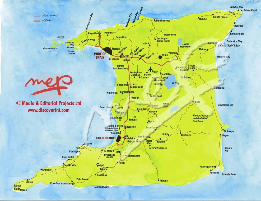 Map of Trinidad. Copyright MEP Publishers 2013