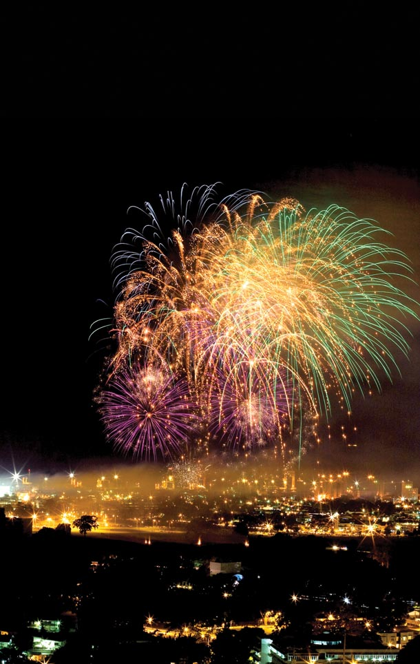 Independence Day fireworks at the Savannah. Photographer: Mariamma Kambon