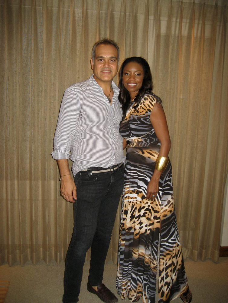 Headley with Trinidadian designer Peter Elias in Trinidad. Photographer: Courtesy Heather Headley