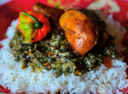 Callaloo with rice. Photograph by Ria Birju
