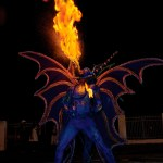 Fire breathing blue devil. Photograph by Chris Anderson