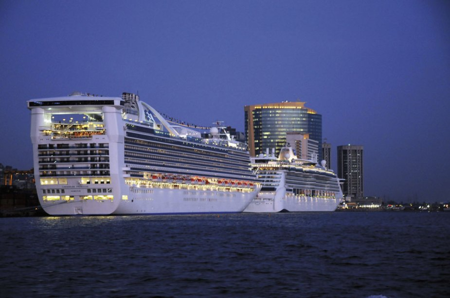A cruise ship docks in Port of Spain. Courtesy Port Authority of Trinidad & Tobago