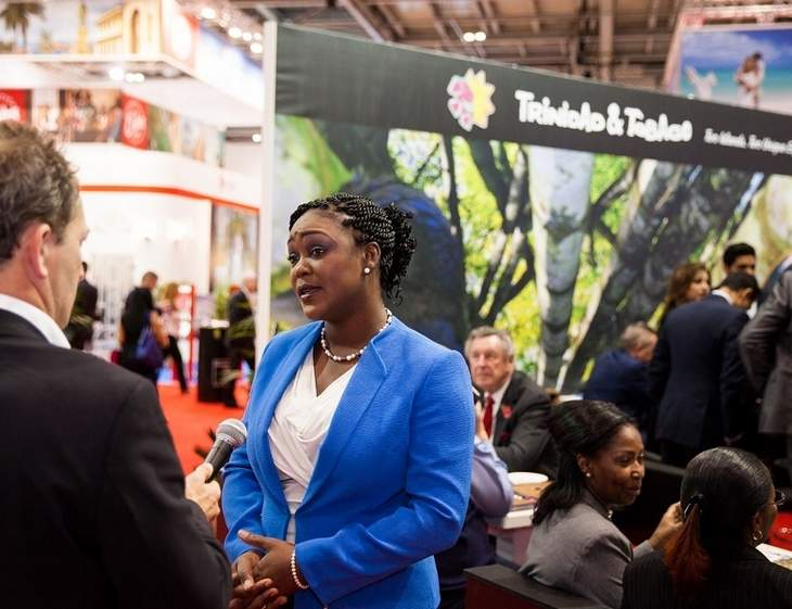 Tracey Davidson-Celestine, Tobago House of Assembly director of Tourism and Transportation answers questions posed by international media. Photo courtesy the TDC