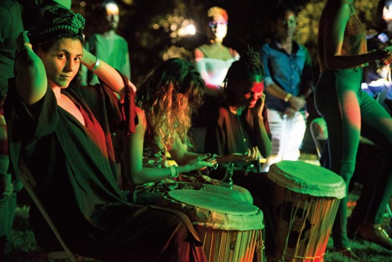 The drum circle at the NEW FIRE Festival. Photo by Jason Cazoe