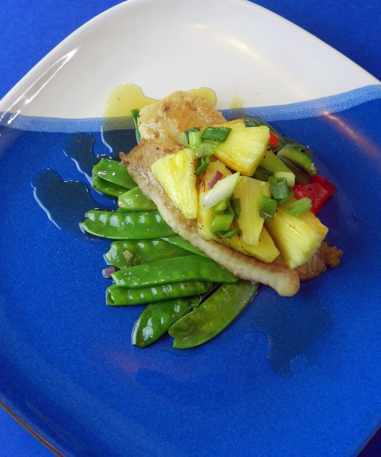 Pan Fried Fish with Grilled Pineapple