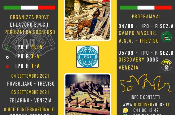 locandina-prove-di-lavoro per cani da soccorso 2021-ENCI-IPOR