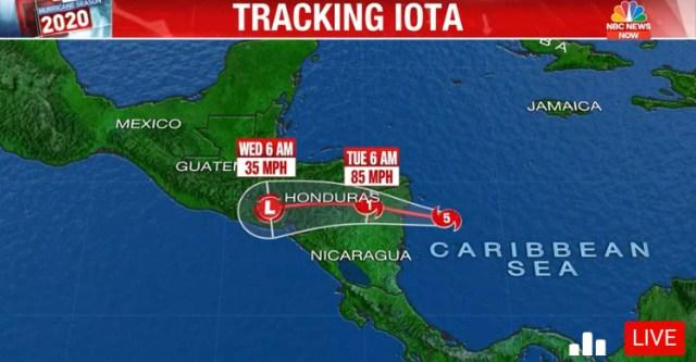 NBC News Tracking Hurricane Iota Live | November 16