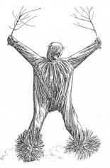 Fg 10: danzatore appartenente ad una popolazione attuale della Costa d'Avorio. (disegno di Gianni Bassi da foto su una rivista di antropologia)