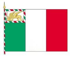 Tricolore (bianco, rosso e verde) con Leone di S. Marco adottato dalla Repubblica Veneta con decreto del 27 marzo 1848 emanato dal Governo Provvisorio della città di Venezia. (da Il Leone di San Marco - di G. Aldrighetti ed M. De Biasi, Venezia 1998)