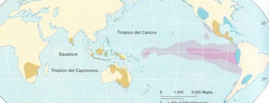 Fg. 2  Nella fascia tropicale dell'oceano Pacifico è evidenziata con due tonalità di rosa l'area interessata da El Niño, il fenomeno oceanico considerato una dannosa corrente calda.
