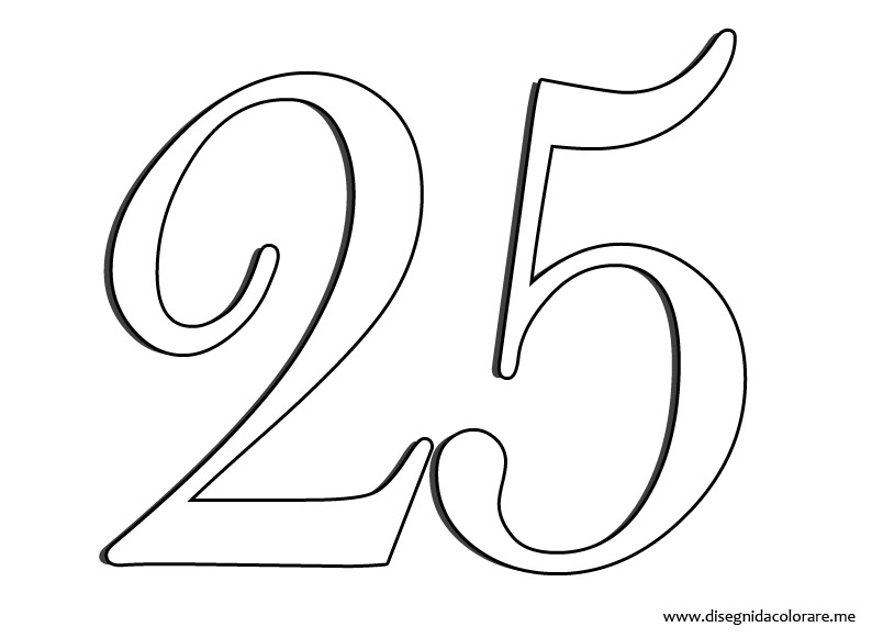 numero 25 colouring pages