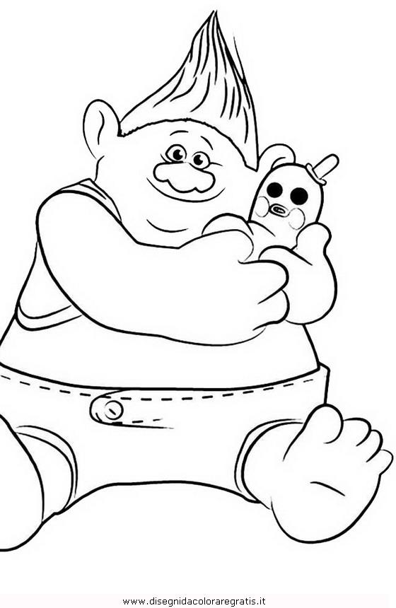 disegno trolls 19 personaggio cartone animato da colorare
