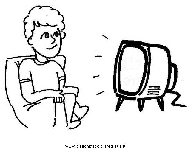 disegno guardare tv 1 misti da colorare