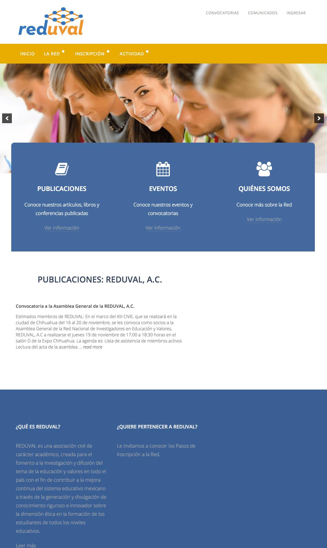 Diseño Dinámico | Sitio Web REDUVAL A.C: