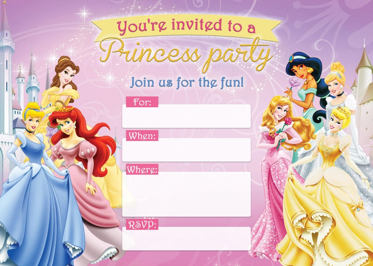 picture relating to Printable Princess Invitations identify Free of charge Printable Disney Princess Birthday Invites D Is