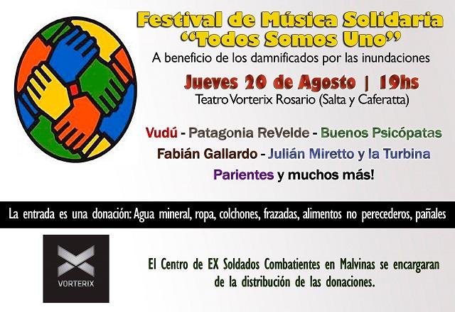 Festival solidario por los damnificados porlas inundaciones