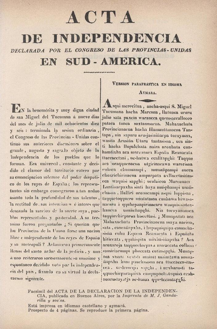 Acta de la declaración de la independencia argentina
