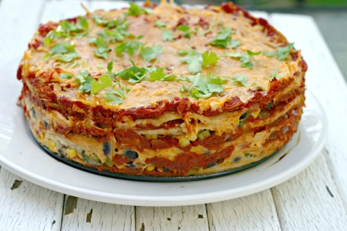 Stacked Black Bean Enchilada Pie