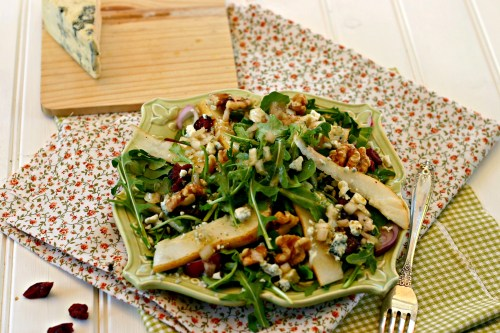 Fall Salad with pear and blue cheese