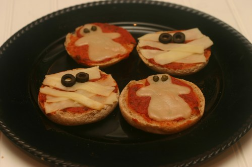 ghost and mummie pizzas