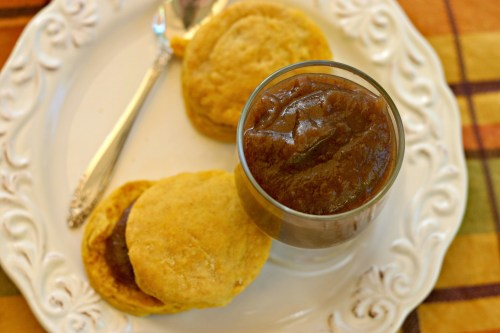 Apple honey butter with pumpkin biscuits
