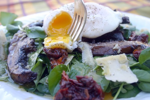 Warm mushroom salad with vinagrette