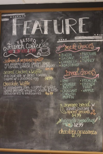 Feature board at Bonjour Oklahoma City