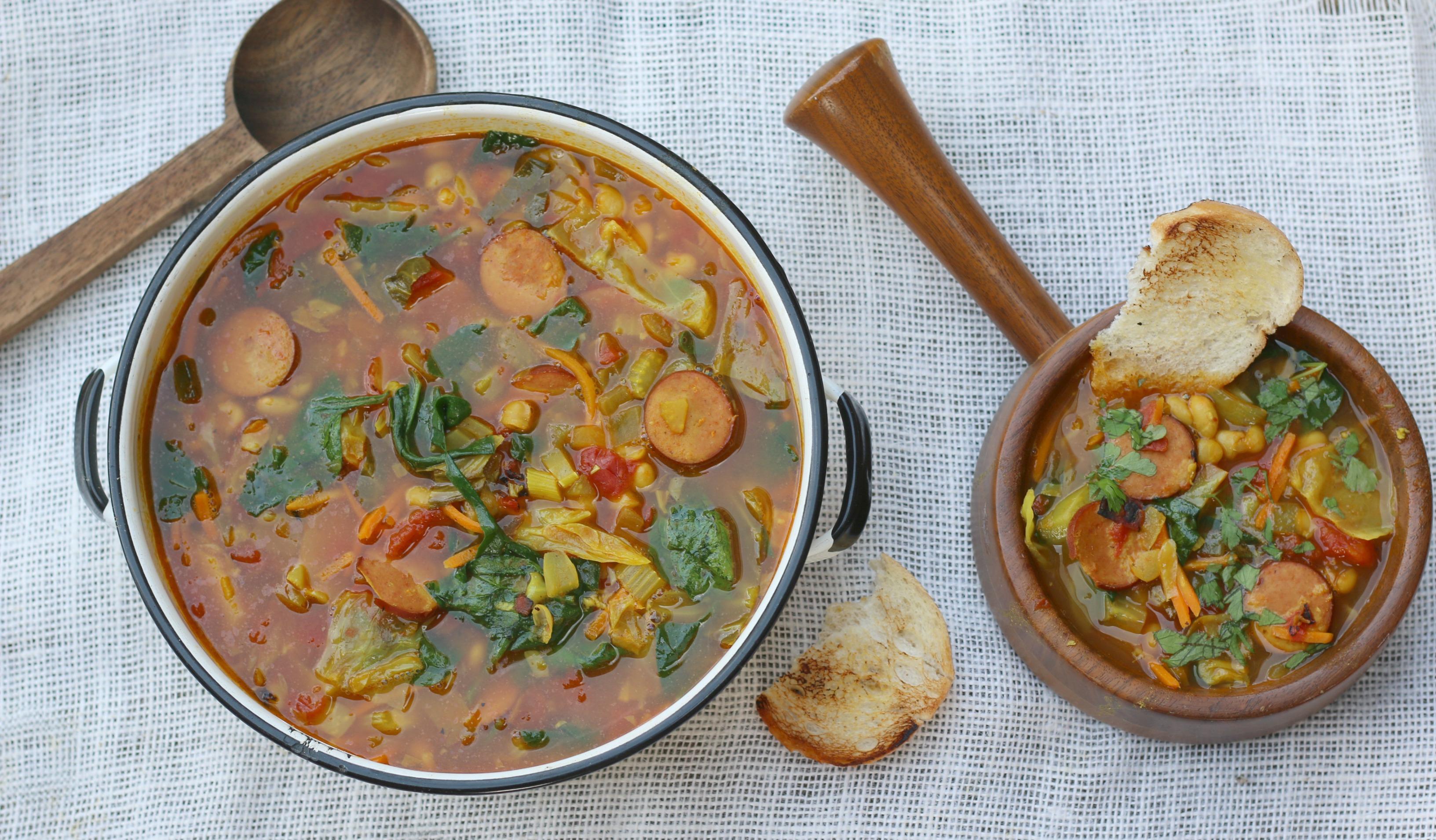 Kielbasa Bean and cabbage soup