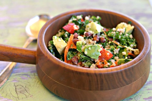 Kale Quinoa Black Bean Salad - Dishin & Dishes