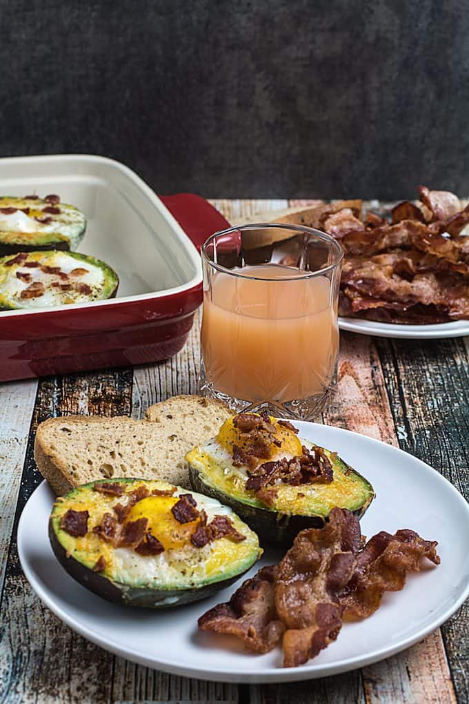 bacon egg and cheese baked avocado