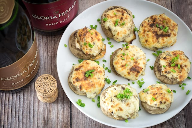 four cheese stuffed mushrooms