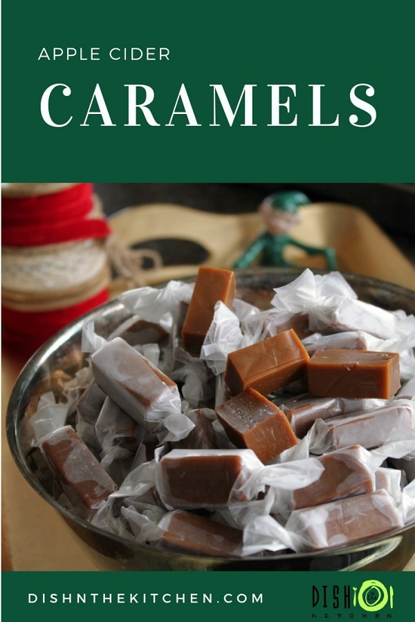 This Apple Cider Caramels Recipe makes mouthwatering sweet and sour chewy caramels. They are the perfect homemade gift to give loved ones. #caramels #candy #applecidercaramels #homemadetreats