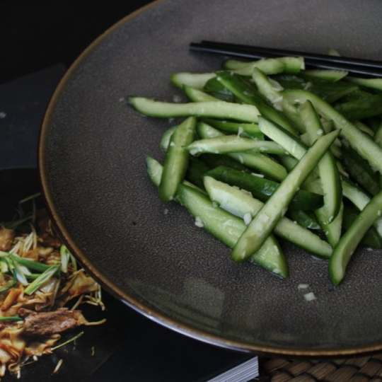 A simple four ingredient Chinese salad featuring cucumbers, salt, garlic, and sesame oil from Phoenix Claws and Jade Trees #cucumbersalad #salad #fouringredient