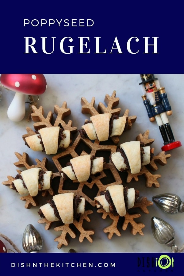 Add some wonder and joy to your holiday goodie tray with these light and flaky poppyseed rugelach. #rugelach #christmasbaking #poppyseed