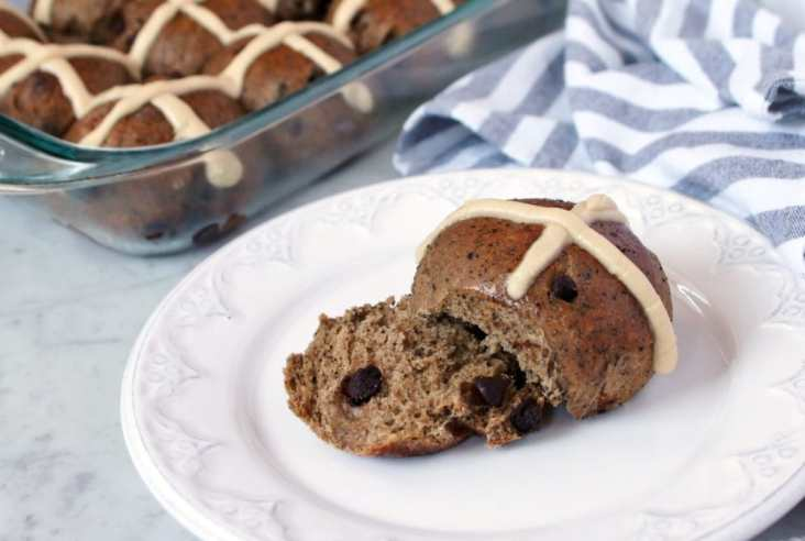 A sourdough starter is used to make these uniquely flavoured Mocha and Chocolate Chip Hot Cross Buns for your Easter table. #Easter #HotCrossBuns #Sourdough