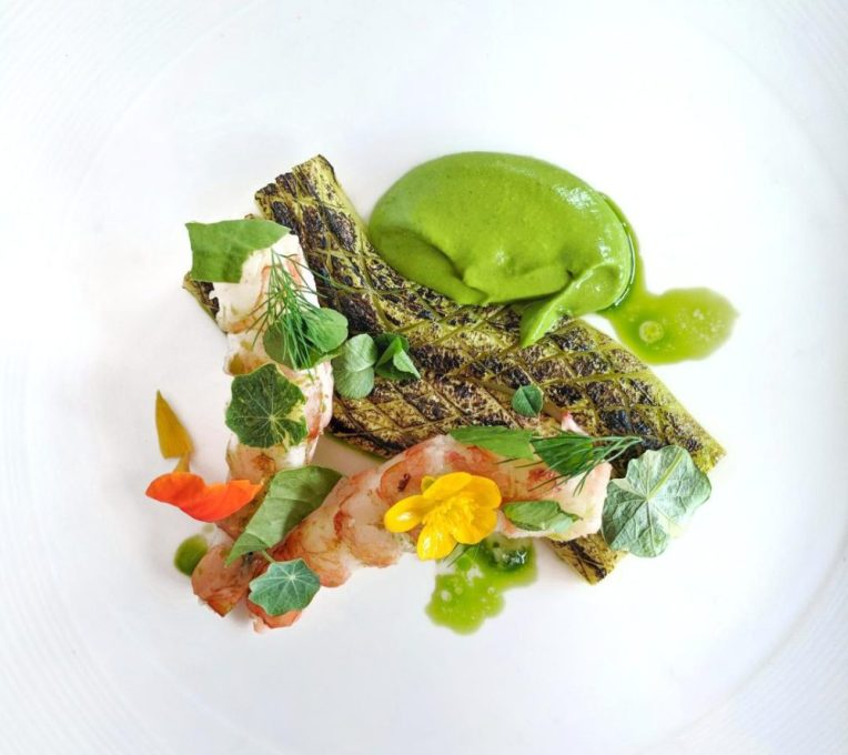 Prawn and Zucchini dish with Foraged Wild Edibles at Island Lake Lodge Untamed Kootenays Event #foraging #wildedibles #seasonal #ediblenature