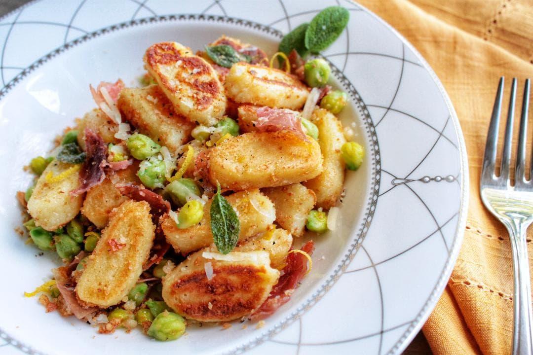 Ricotta Gnocchi with Prosciutto Crispy Sage and Pangrattato - Dish 'n' the Kitchen
