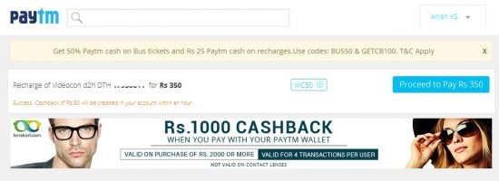 dth recharge coupon code march 2015