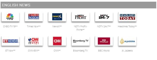english news channels in tata sky south special pack