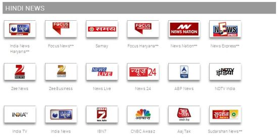 hindi news channels in tata sky south special pack